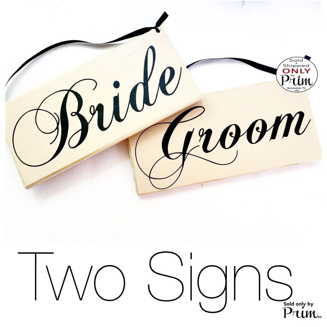 10x6 Bride Groom HIS HERS Two signs (Choose Color) Custom Wedding Just Married Yours Mine Love Welcome Wedding Plaque Wood Signs (Set of 2)
