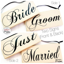 Load image into Gallery viewer, 10x6 Just Married Bride Groom Double Sided (Choose Color) Custom Wedding His Hers Yours Mine Love Welcome Plaque Wood Signs (Set of 2)