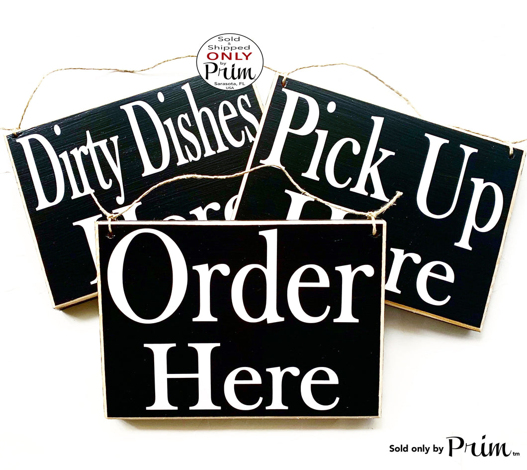 10x8 Trio Set (3 Signs) Dirty Dished Order Here Pick Up Around the Corner Restaurant Cafe Coffee House Kitchen Counter Cashier Wall Plaque
