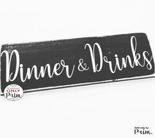 Load image into Gallery viewer, 12x4 Dinner & Drinks Personalized Wedding Custom Wood Sign Wedding Bride Groom Ceremony Vows Happy Hour Brewery Dancing Nuptials Door Plaque