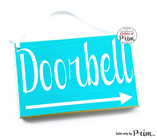 8x6 Doorbell Arrow Custom Wood Sign | Personalized Wording Business Entrance Reception Front Desk Welcome Deliveries This Way Please Plaque