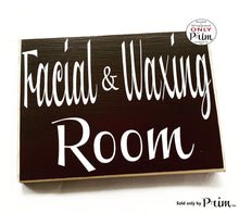 Load image into Gallery viewer, 10x8 Facial & Waxing Room Custom Wood Sign Spa In Session Please Do Not Disturb Welcome Treatment Relaxation Eyebrow Lashes Door Plaque