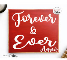 Load image into Gallery viewer, Forever and Always Amen Custom Wood Sign Welcome to Family Wedding Home Sweet Home Love Children Happiness We Live Here Plaque