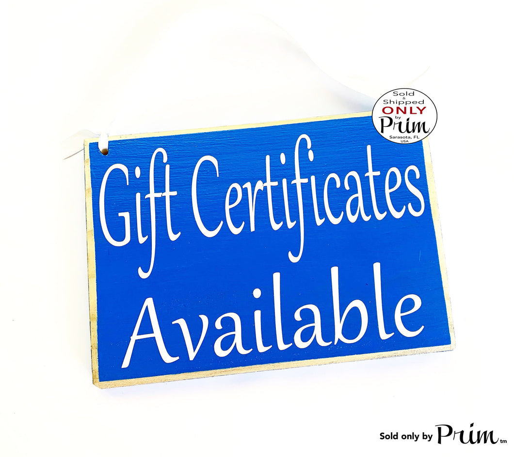 8x6 Gift Certificates Available Custom Wood Sign Store Shop Sign Spa Salon Office Coupon Door Plaque