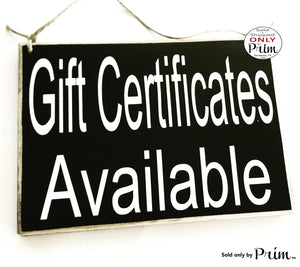 8x6 Gift Certificates Available Custom Wood Sign Store Shop Sign Spa Salon Office Boutique Clearance Sale Merchandise Coupon Door Plaque