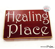 Load image into Gallery viewer, 8x6 Healing Place Custom Wood Door Sign In Progress Session Do Not Disturb Spa Salon Yoga Welcome Meditation Pilates Office Pure Positive