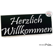Load image into Gallery viewer, 14x6 Herzlich Willkommen Heartly Welcome in German Custom Wood Sign Biergarten Oktoberfest Germany Deutsch Welcome Wall Plaque