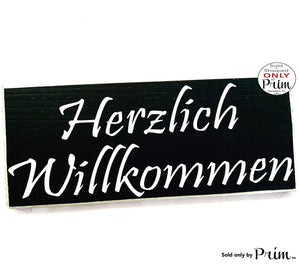 14x6 Herzlich Willkommen Heartly Welcome in German Custom Wood Sign Biergarten Oktoberfest Germany Deutsch Welcome Wall Plaque