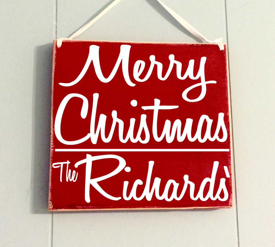 8x8 Personalized Merry Christmas Wood Sign
