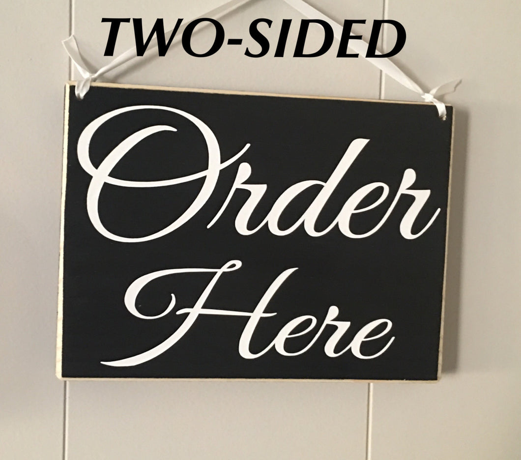 10x8 Order Here DOUBLE SIDED Wood Restaurant Coffee Shop Business Sign