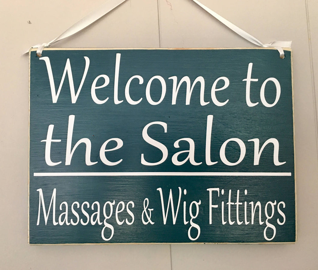 10x8 Welcome to the Salon Wood Business Sign