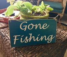 Load image into Gallery viewer, 10x6 Gone Fishing Wood Man Cave Sign