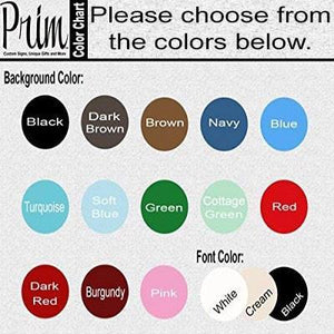 Designs by Prim Custom Wood Signs Color Chart