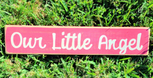 24x6 Our Little Angel Wood Kids Children Nursery Sign