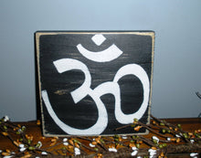 Load image into Gallery viewer, 8x8 Om Namaste Symbol Wood Sign