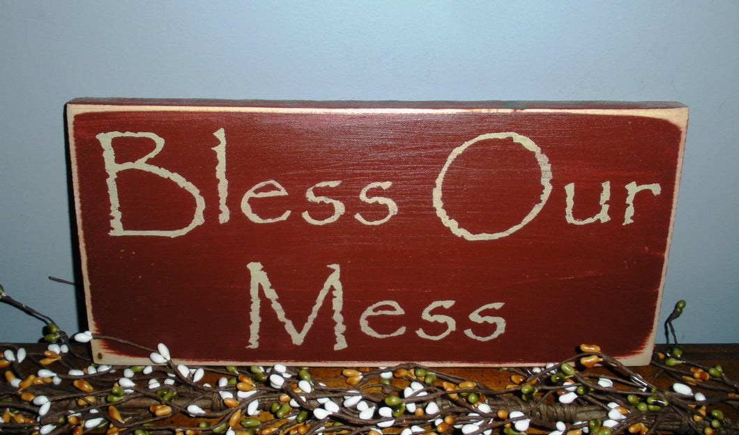12x6 Bless Our Mess Wood Funny Cute Home Sign