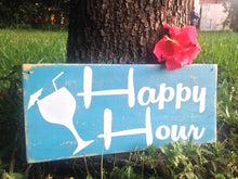 Load image into Gallery viewer, 12x6 Happy Hour Wood Cocktails Wine Beer Margarita Sign