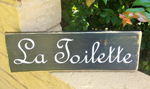 Load image into Gallery viewer, 12x4 La Toilette Wood French Bathroom Restroom Sign
