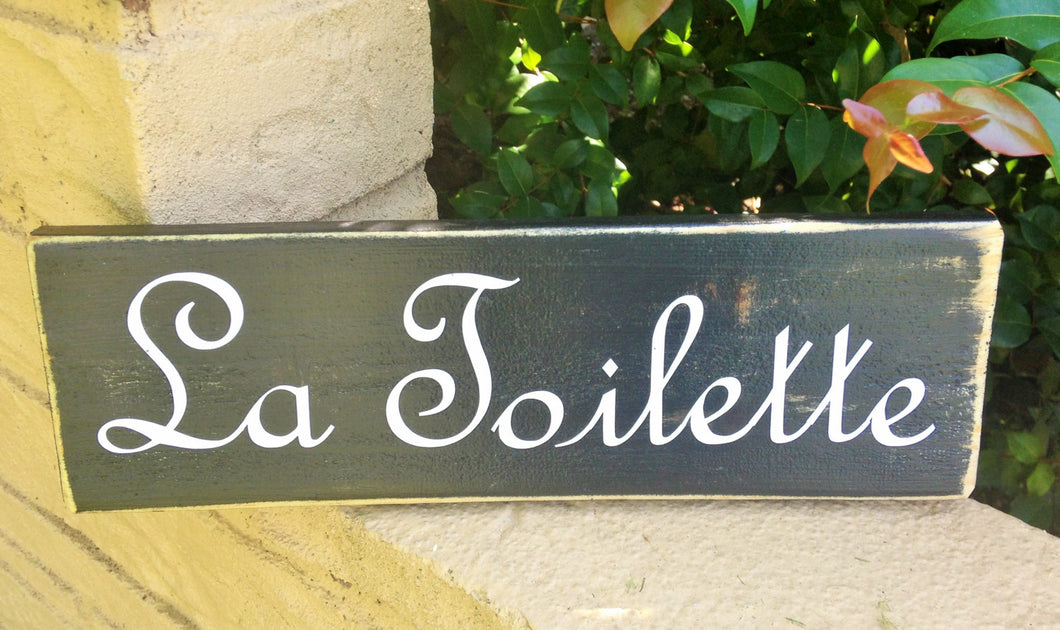 12x4 La Toilette Wood French Bathroom Restroom Sign