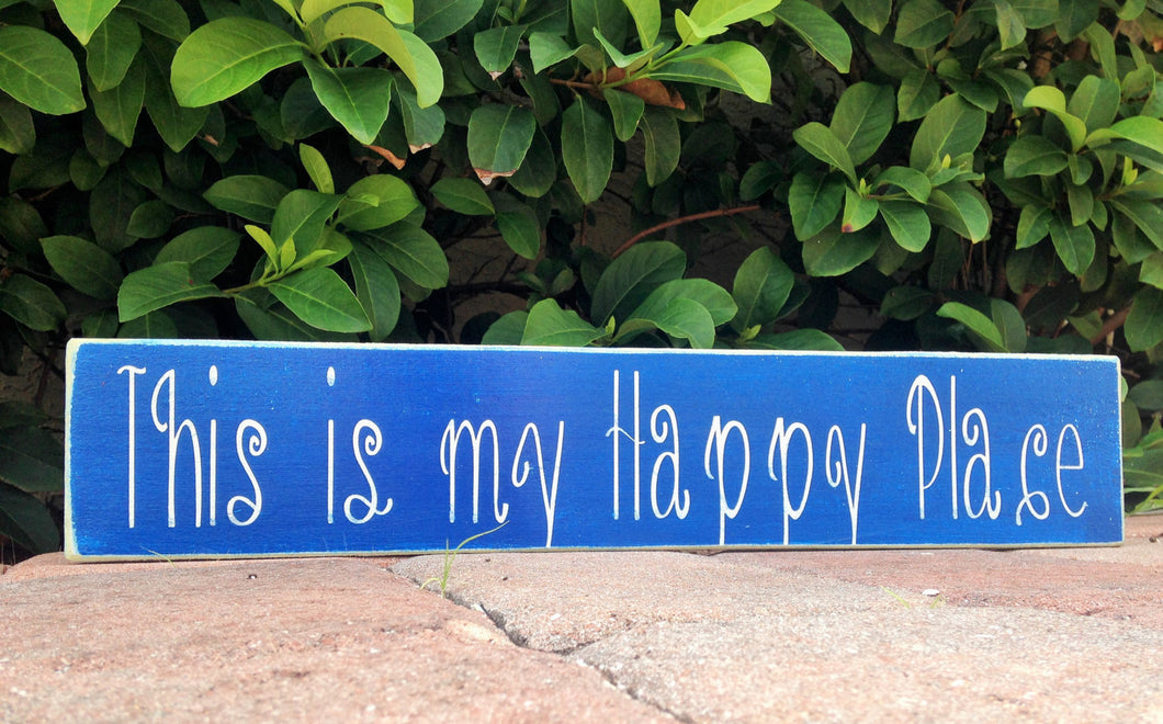 18x4 This Is My Happy Place Wood Home Family Sign