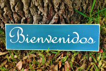 Load image into Gallery viewer, 14x6 Bienvenidos Wood Spanish Welcome Sign