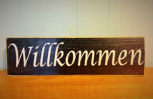 Load image into Gallery viewer, 18x6 Willkommen Wood German Welcome Sign