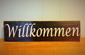 18x6 Willkommen Wood German Welcome Sign