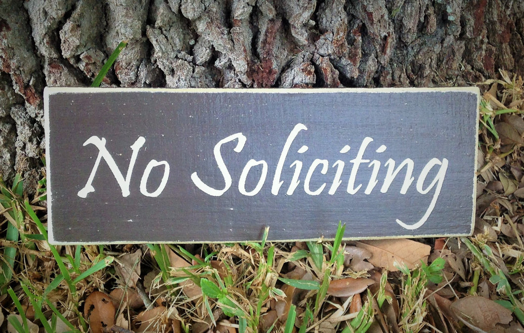 14x6 No Soliciting Wood Welcome Sign