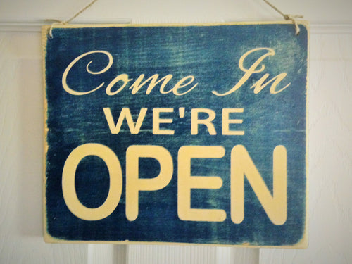10x8 Come on in We're OPEN Double-Sided Wood Business Sign