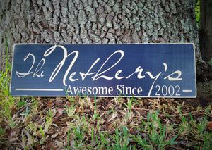 24x8 Custom Last Name Date Wood Established Wedding Sign