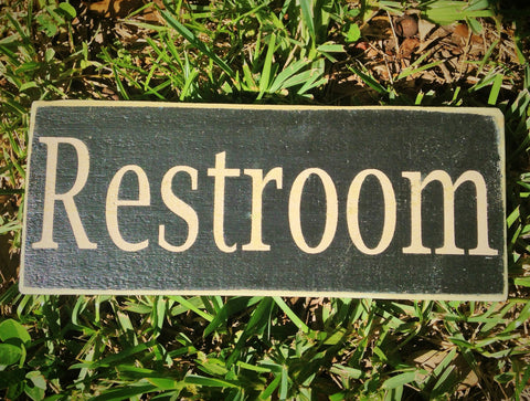 10x4 Restroom Wood Bath Bathroom Sign