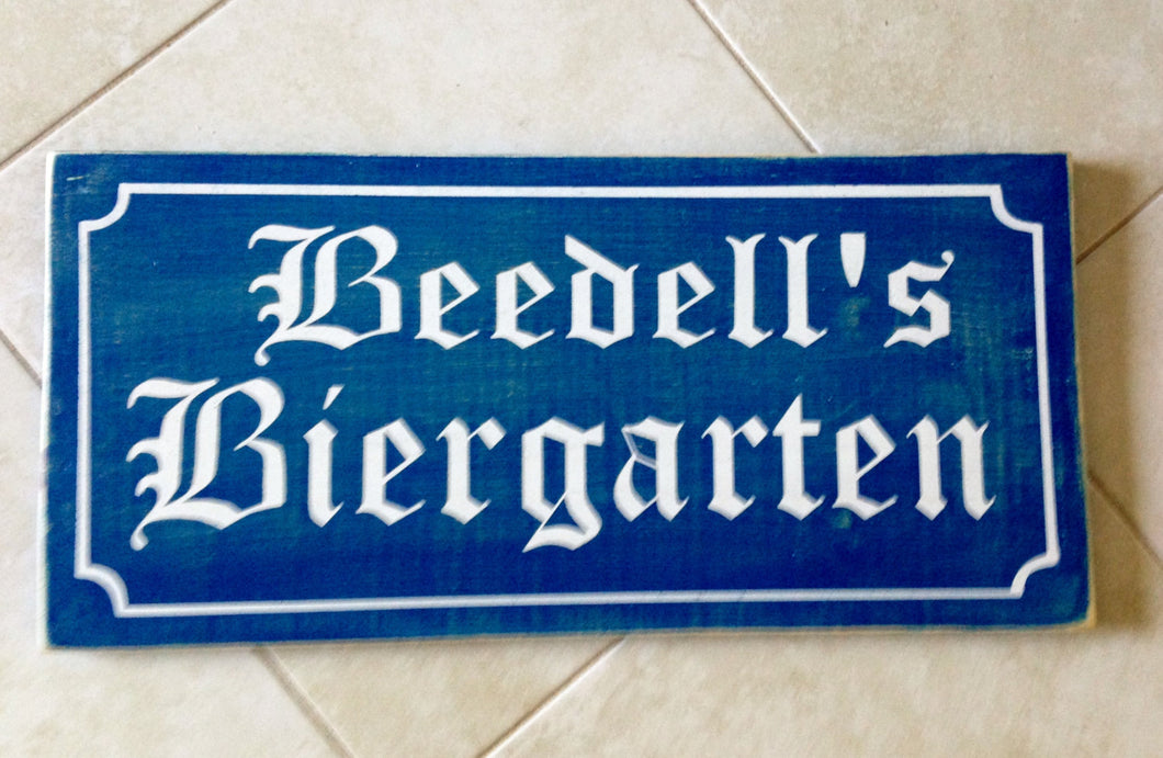 24x12 Custom Biergarten Name Wood Oktoberfest Sign