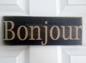 12x6 Bonjour Wood French Hello Sign