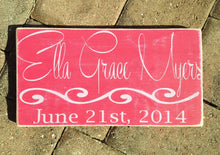 Load image into Gallery viewer, 14x8 Custom Baby Name Birth Wood Nursery Sign