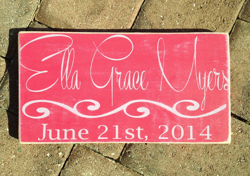 14x8 Custom Baby Name Birth Wood Nursery Sign