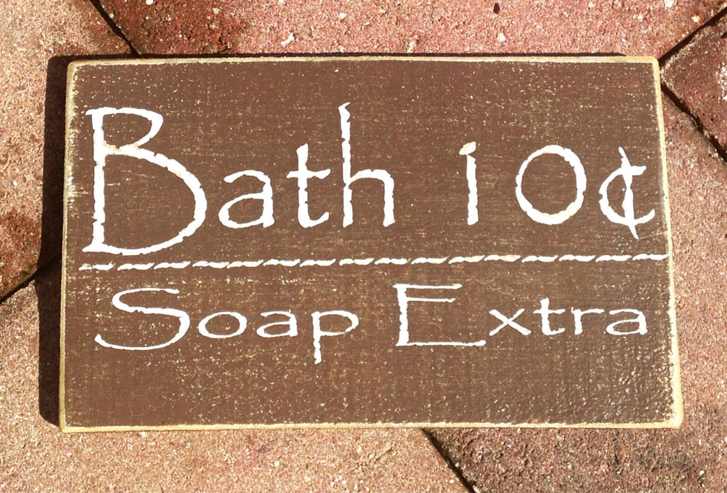 10x6 Bath 10 Cents Wood Farmhouse Restroom Sign