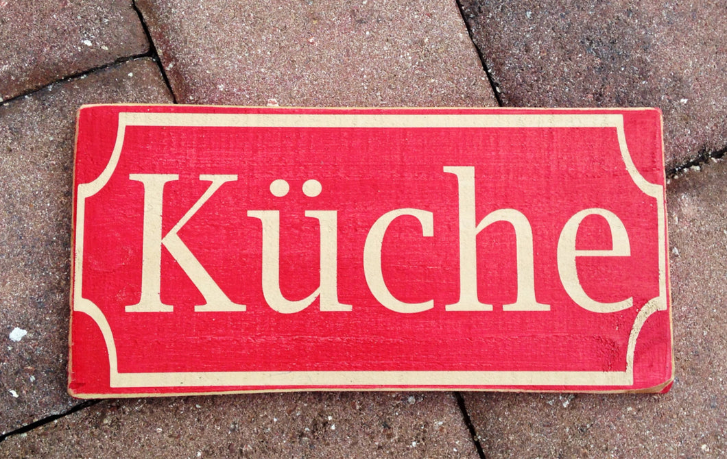 12x6 German Kuche Wood Kitchen Sign