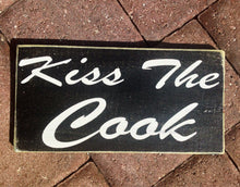 Load image into Gallery viewer, 12x6 Kiss The Cook Wood Kitchen Sign