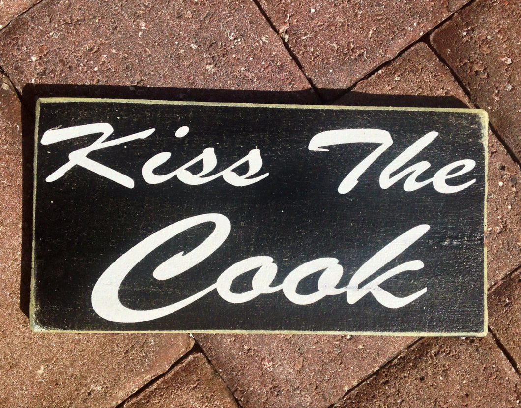 12x6 Kiss The Cook Wood Kitchen Sign