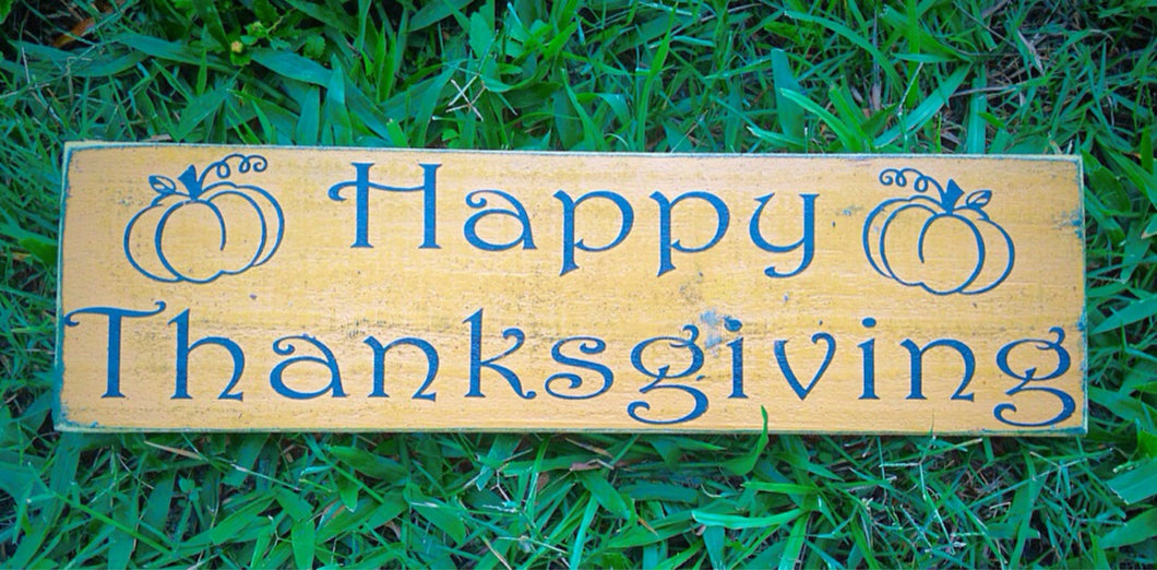18x6 Happy Thanksgiving Wood Give Thanks Sign