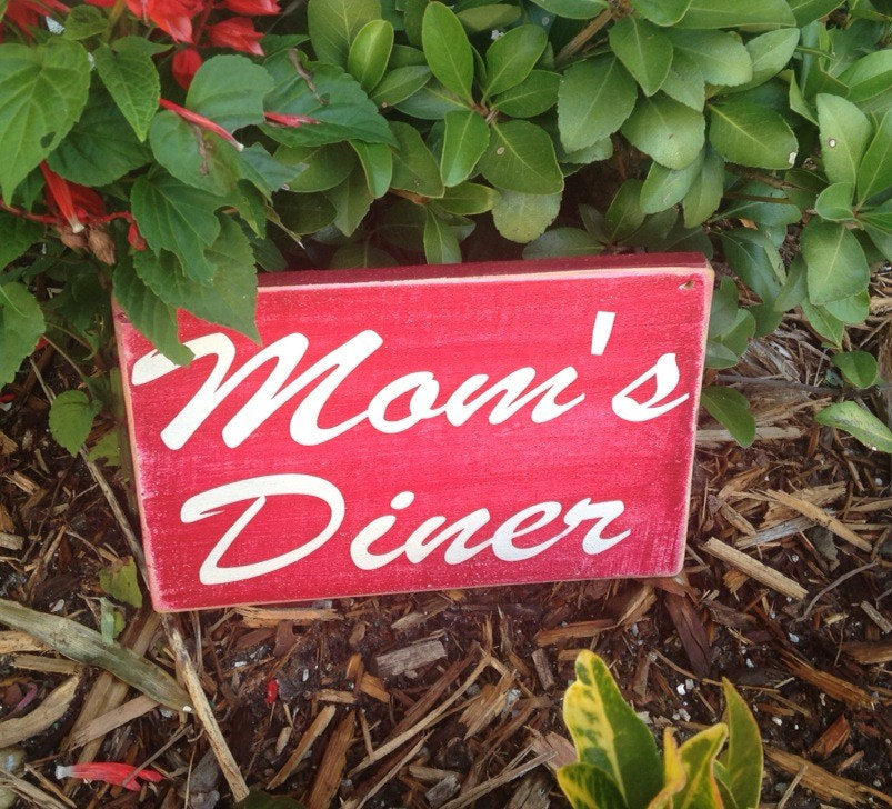 Mom's Diner Kitchen Custom Wood Family Chef Cook Home Sign