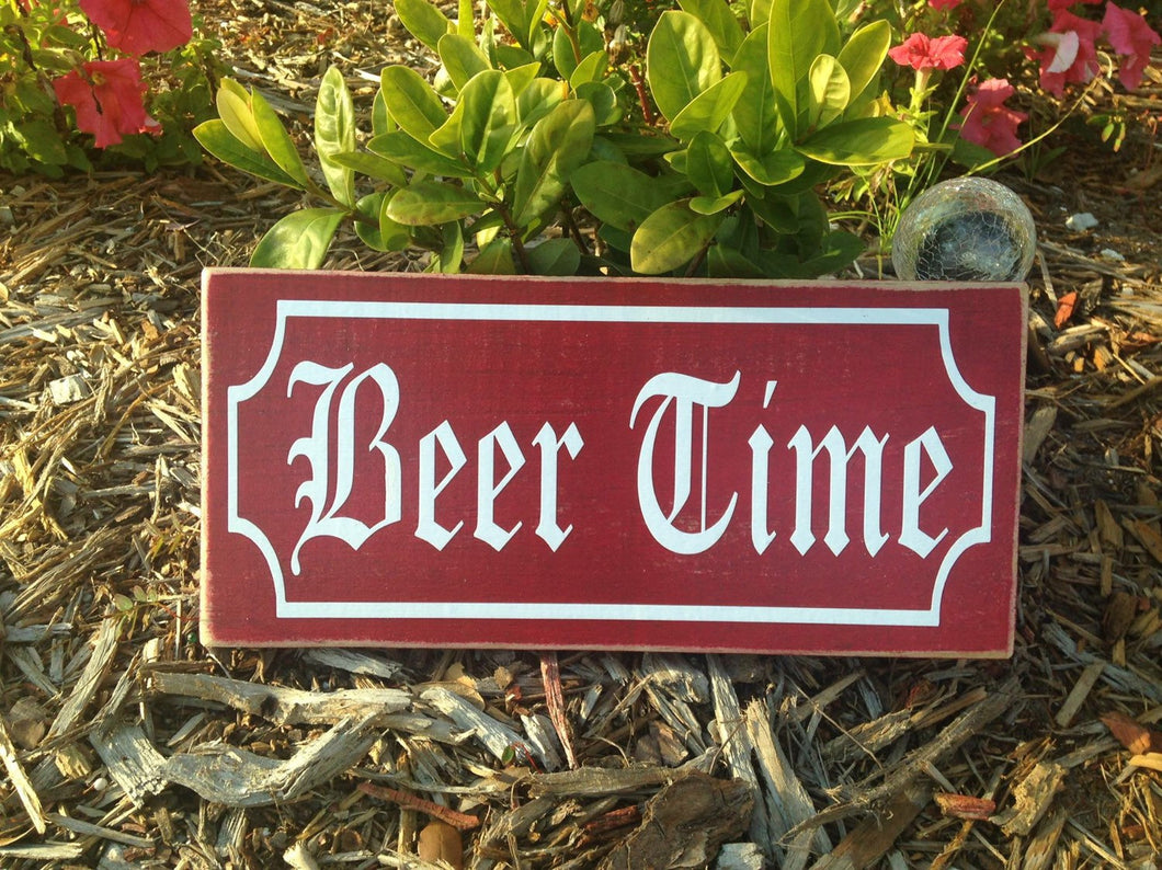 12x6 Beer Time Wood Happy Hour Biergarten Sign