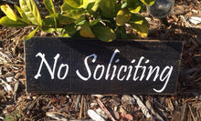 Load image into Gallery viewer, 12x4 No Soliciting Wood Welcome Sign