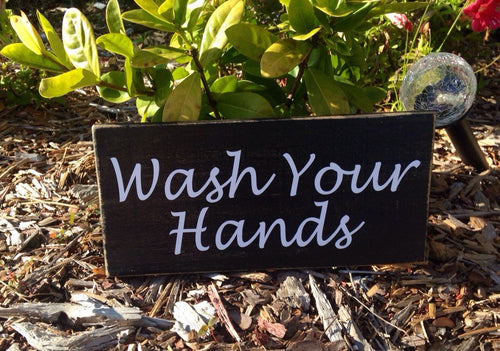 10x4 Restroom Wash Your Hands Wooden Business Sign