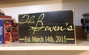 12x6 Custom Last Name Date Wood Wedding Established Sign