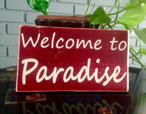 Welcome To Paradise Tropical Tiki Door Wall Custom Wood Sign
