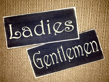 Load image into Gallery viewer, Ladies and Gentlemen Wood Office Business Restaurant Restroom Sign (Set of 2)