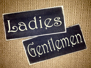 Ladies and Gentlemen Wood Office Business Restaurant Restroom Sign (Set of 2)