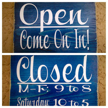 Load image into Gallery viewer, Open Closed Business Hours Office Shop Boutique Spa Salon Custom Wood Sign