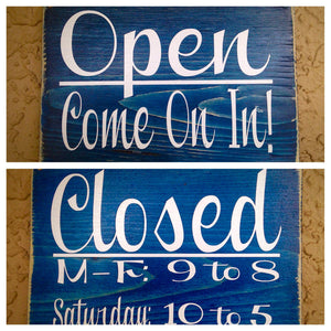 Open Closed Business Hours Office Shop Boutique Spa Salon Custom Wood Sign